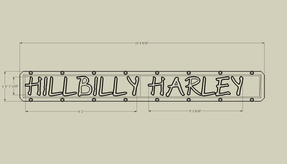 Hillbilly Harley Sign Dimensons